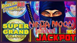 HIGH LIMIT Dollar Storm Ninja Moon SUPER GRAND CHANCE HANDPAY JACKPOT️$10 Bonus Round Slot Machine