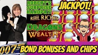 HANDPAY JACKPOT! REEL RICHES DRAGON'S WEALTH & JAMES BOND