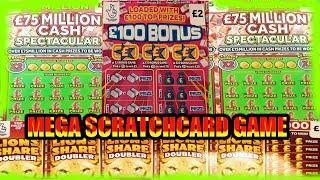 "MEGA SCRATCHCARD GAME""CASH SPECTACULAR""MONOPOLY""£100 BONUS""CASH 7s DOUBLER""LION DOUBLER""JEWEL SMASH"