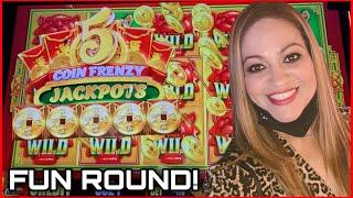 LOTS OF FUN ROUNDS WITH LOADS OF LAUGHSON 5 COIN FRENZY JACKPOTS BY ARISTOCRAT!