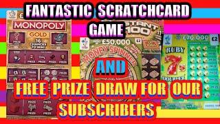 "Great Scratchcard Game""MONOPOLY""MONEY SPINNER""RUBY 7's Doubler""INSTANT £100.& Free Prize Draw starts"