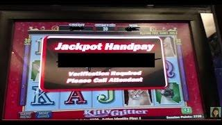 * GIANT HANDPAY JACKPOT * Kitty Glitter $30 Bet Free Spin bonus IGT  Slot machine