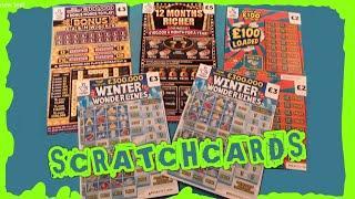 "It's an...EXCITING Scratchcard Game""WINTER WONDERLINES""BONUS CASHWORD""12 Months RICHER""£100 LOADED"