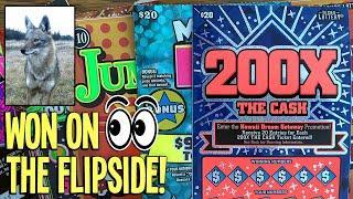 WON ON THE FLIPSIDE!  $20 200X The Cash + Jumbo Bucks 300X  $110 TEXAS Lottery Scratch Offs