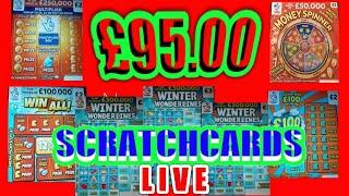 WOW!..£95.00 SCRATCHCARDS.LIVE.WONDERLINES.MONOPOLY.CASHLINES..WIN.ALL..£100 LOADED..MONEY SPINNER..