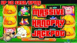 HIGH LIMIT UP TO $250 SPINS on Lock It Link Huff N' Puff MASSIVE HANDPAY JACKPOT ON $50 Bonus Round