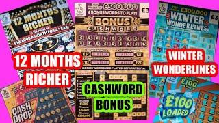 "CRACKING..Scratchcard Game""12 Mths RICHER""W/WONDERLINES ""NEW CASHWORD ""£100 Loaded""CASH DROP""5X CASH"