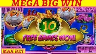 MEGA BIG WIN New Konami Scroll of Wonder Slot Machine | Massive Slot Win |Timber Wolf Bonus