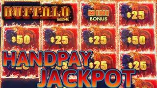 HIGH LIMIT Buffalo Link HANDPAY JACKPOT ~ $25 Bonus Round Slot Machine Casino
