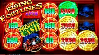 Rising Fortunes Slot Machine MAX BET Bonus | Mighty Cash & 5 Dragons Rapid Slot Machines BONUSES WON