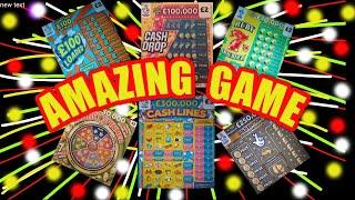 """WHAT..AMAZING & EXCITING  Scratchcard Game""""CASH DROP""""7s Doubler""""£100 Loaded""""£250,000 Gold.WIN £50"""