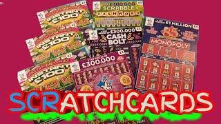 MONOPOLY ..INSTANT £100..Scratchcards..SCRABBLE Cashword ..Cash Bolt...mmmmmmMMM..says