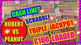 5X CASH LINE'S..Scratchcards & SCRABBLE..TRIPLE JACKPOT..( ROBERT Vs PEANUT) There 3rd Game