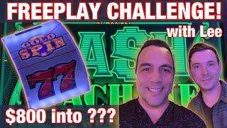 $800 Freeplay CHALLENGE @ Harrah's Tahoe!! | WHEEL OF FORTUNE | CASH MACHINE | WINNING CHALLENGE!