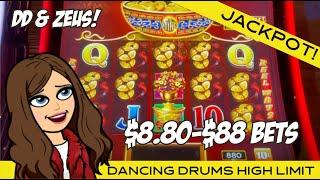 MISTAKE $88 MAX BET HANDPAY! OOPS!!! DANCING DRUMS AND ZEUS - MANDALAY BAY LAS VEGAS!