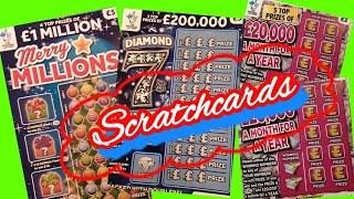 Scratchcards Match 3..Merry Millions.£20,000 Month.Diamond 7.Doubler.+Special edition