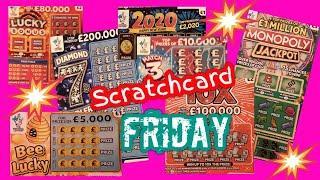 Scratchcards..MONOPOLY..DIAMOND 7s..2020..Lucky Bonus..B-Lucky.Match 3 Tripler