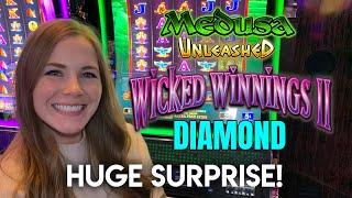 SURPRISE MASSIVE HIT! Wicked Winnings 2 Diamond Slot Machine!! First Time Trying Medusa Unleashed!!