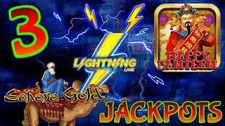 Lighting Link Sahara Gold & Happy Lantern (3) HANDPAY JACKPOTS ~ HIGH LIMIT $50 Bonus Round Slot