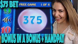 $75/SPIN! HANDPAY JACKPOT on LIGHTNING LINK SLOT! Las Vegas BIG WIN!