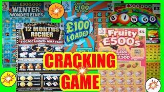 "CRACKING Scratchcard Game""£100 Loaded""..FRUITY £500""..12 Mths RICHER""..WONDERLINES..BINGO""WIN £50"