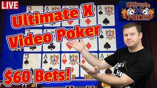 $60 Ultimate X Video Poker - 3 Hand Double Double Bonus Live from Las Vegas!
