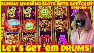 DANCING DRUMS EXPLOSION Slot Machine Casino SUNDAY MORNING SLOTS WITH GRETCHEN EPISODE #6