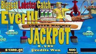 $25 BET! JACKPOT HANDPAY ON LOBSTERMANIA SLOT MACHINE!!