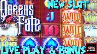 BIG WIN! LIVE PLAY and Bonus on Queens of Fate Slot Machine