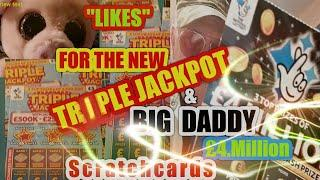 """•£25,00 TRIPLE JACKPOT Scratchcard•& •£10 BIG DADDY £4.Million cards•all you do is give a """"LIKE""""•"""