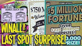 WINALL + LAST SPOT $URPRISE! $50 TICKET + Winner Winner Chicken Dinner  TX LOTTERY Scratch Offs